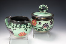 Load image into Gallery viewer, Functional Art. Studio Pottery Cream and Sugar Set. Original Art Surface Design. High Fired In An Electric Kiln.