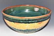 Load image into Gallery viewer, Studio Pottery. Pottery Sunflower Bowls Wheel Thrown, Carved and Slip Trailed with an Original Art Surface Design. High Fired in an Electric Kiln.