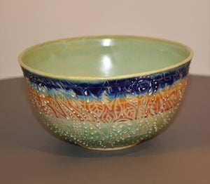 Studio Pottery. Functional Art. Wheel Thrown Sgraffito Bowl. Carved And Slip Trailed. High Fired In An Electric Kiln.