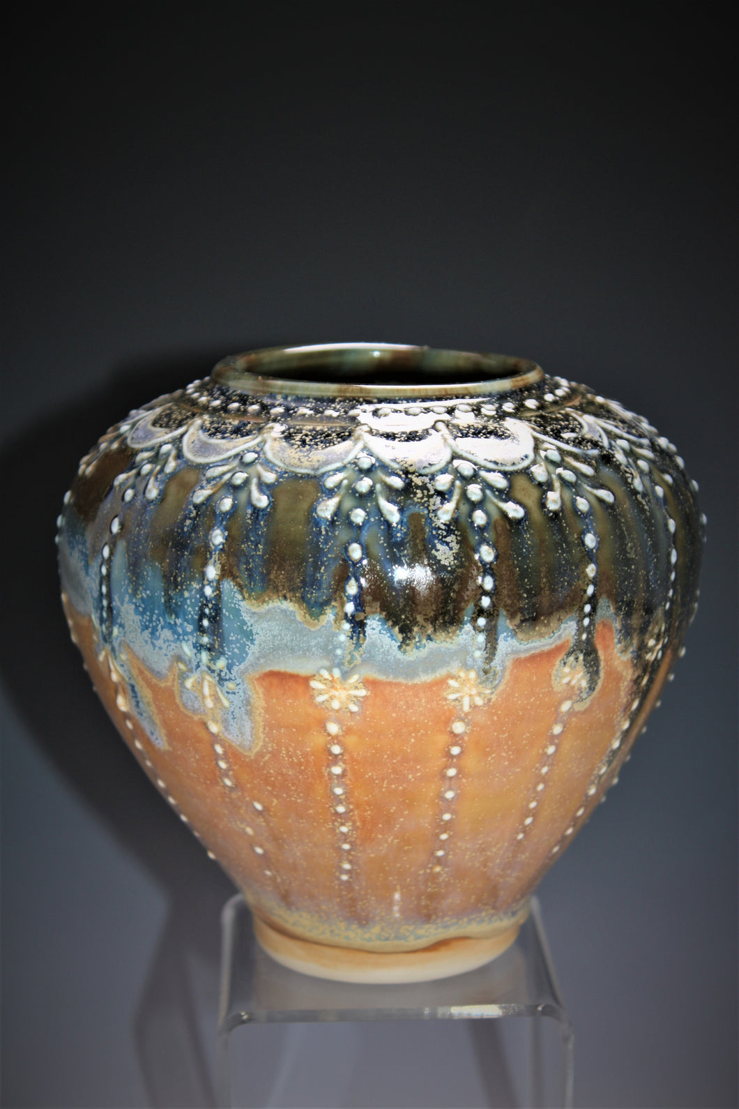 Studio Pottery. Pottery Vase With Original Design Slip Trailed On The Surface. This Beautiful Vase Has Layered Glazes And High Fired In An Electric Kiln.