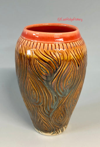 Handmade Pottery Carved Bark Vase