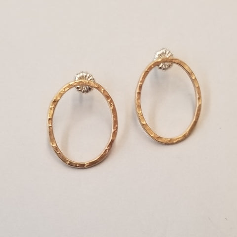 Textured Goldfill Oval Post Earrings