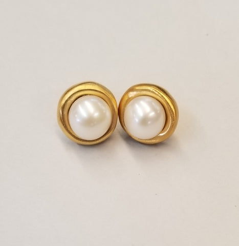 Vermeil and Pearl Earrings