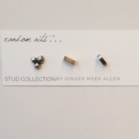 Set of 3 Oxidized Sterling Studs