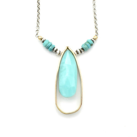 Turquoise in Goldfill Teardrop Necklace