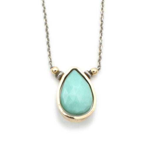 Turquoise and Goldfill Teardrop Necklace