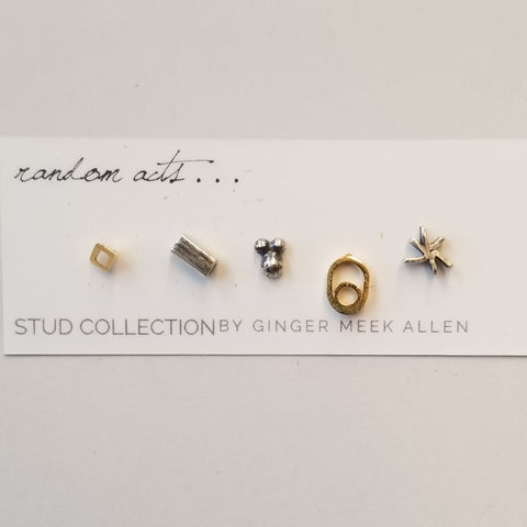 Set of 5 Oxidized Sterling and Vermeil Studs