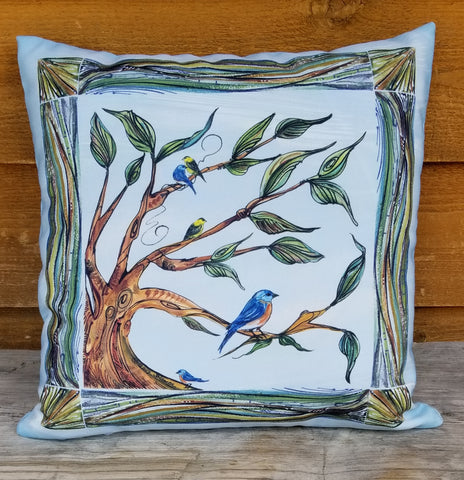 Indoor-Outdoor Pillow - Songbirds