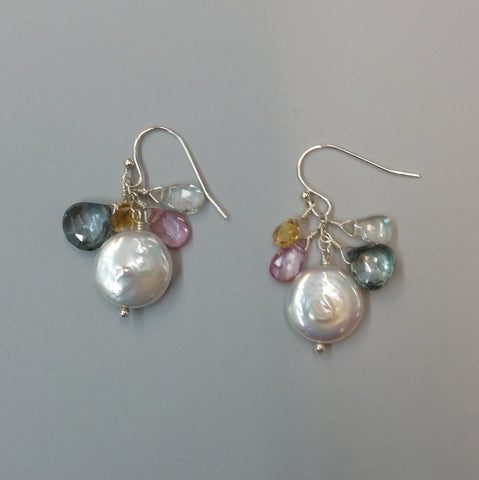 Moss Aquamarine, Topaz and Pearl Earrings