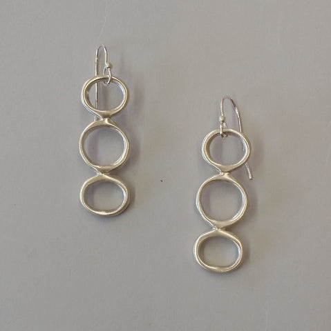 Sterling Long Circles  Earrings