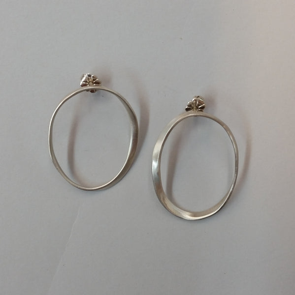 Sterling Silver Oval Rings Earrings
