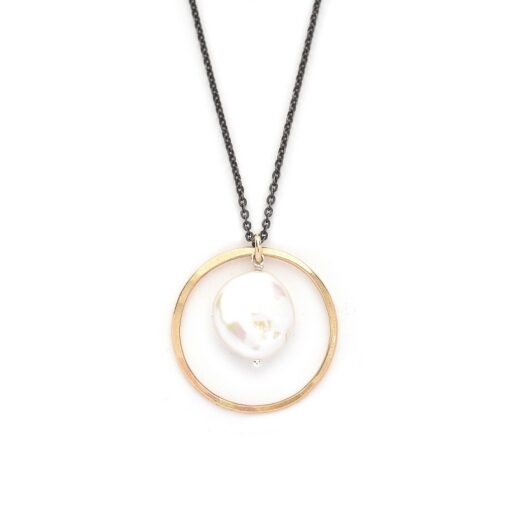 Goldfill Circle with Pearl Necklace