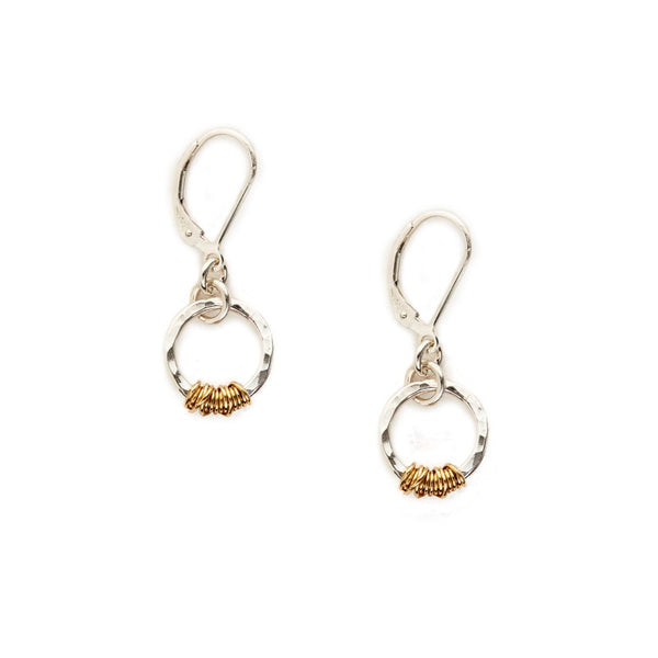 Sterling Circle and Goldfill Wire Earring