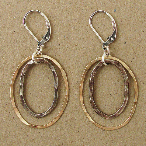 Handhewn Sterling and Goldfill Ovals Earring