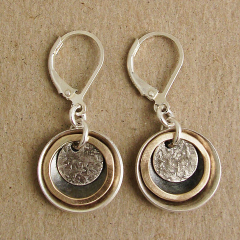 Textured Disk in Goldfill Rings Earrings