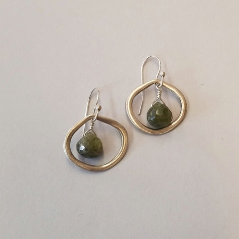 Sterling and Vesuvianite Earrings