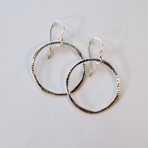 Large Textured Sterling Hoop Earrings