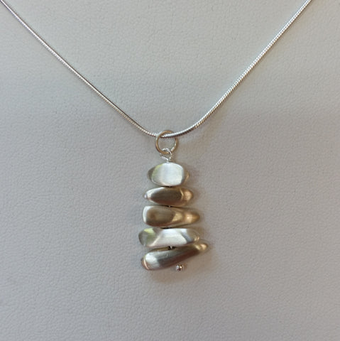 Stacked Sterling Pebbles Necklace