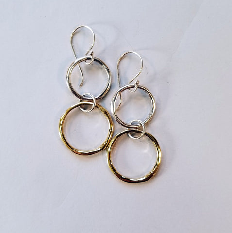 Vermeil & Sterling Double Rings Earrings