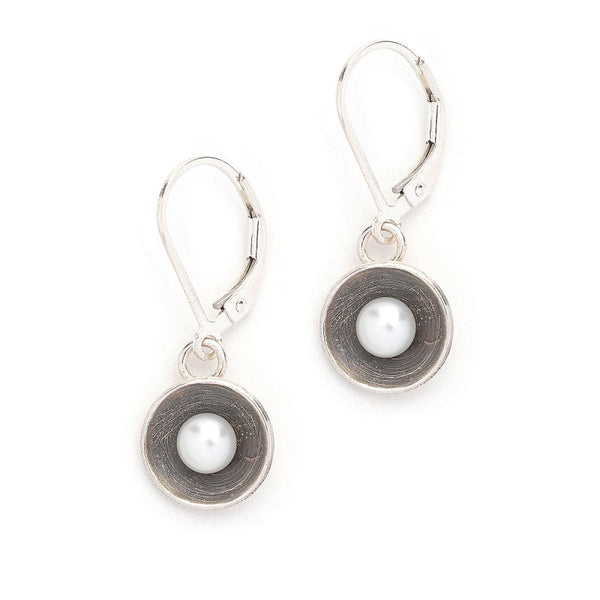Sterling Cup With White Pearl Earrings