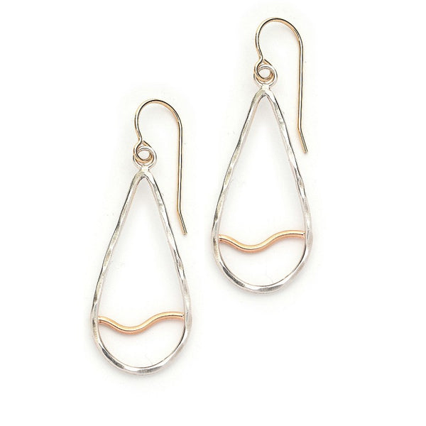Sterling Teardrop with Goldfill Wave Earrings