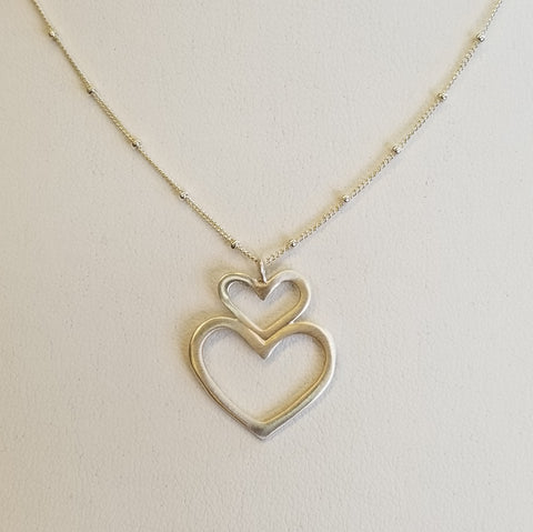 Double Heart Sterling Necklace