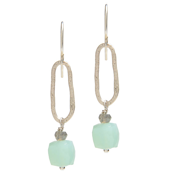 Chalcedony and Labradorite Earrings