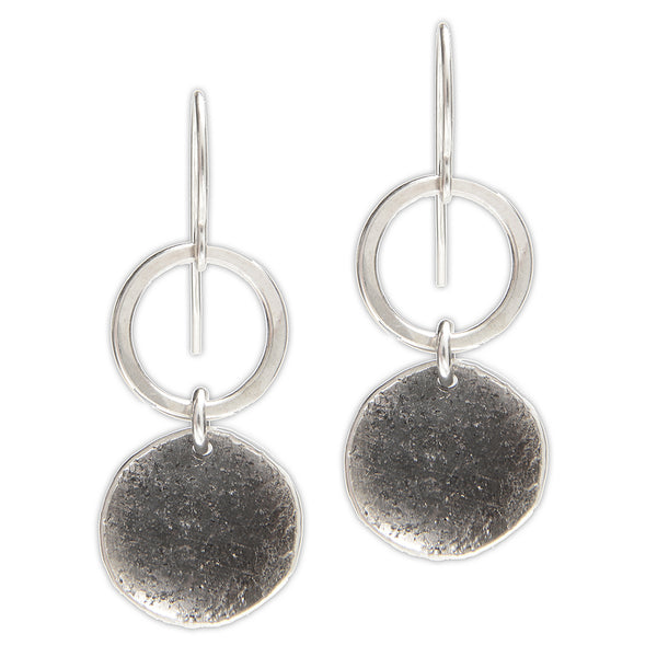 Oxidized Sterling Disc and Circle Earrings
