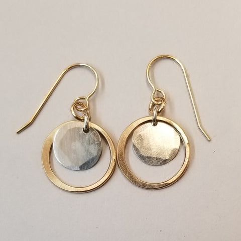 Circle and Disc Earrings