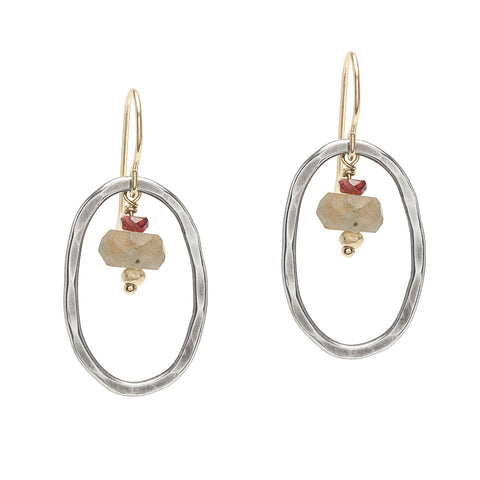 Sterling Oval & Stones Earrings