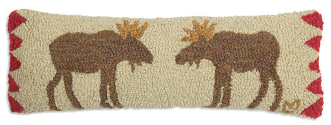 Hooked Wool Pillow - Beige Moose