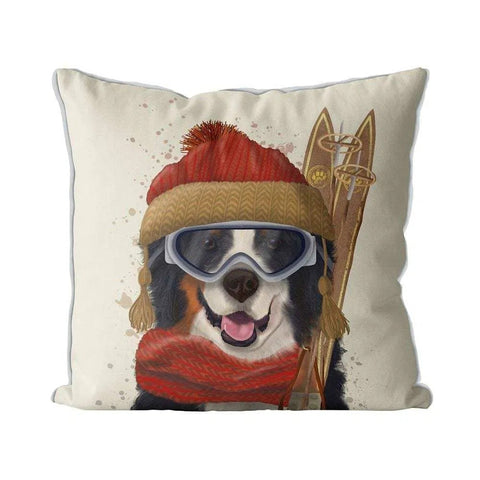 Bernese Ski Dog Pillow