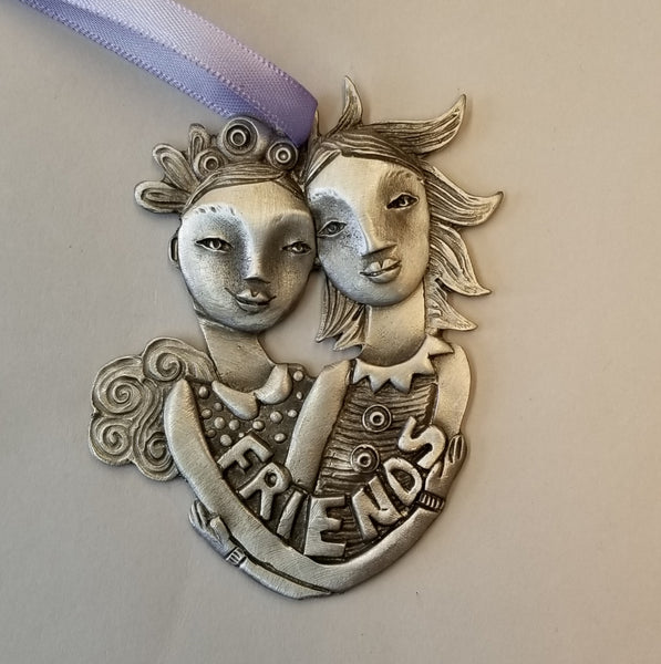 Pewter Ornament - Best Buds