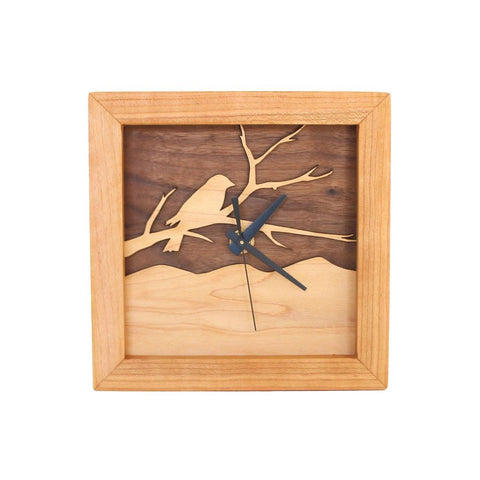 Box Clock - Bird on a Branch