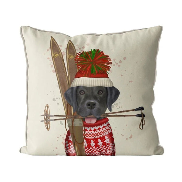 Black Lab Skiing Pillow