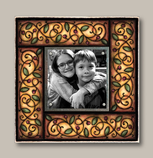 Small Magnetic Picture Frame - Brown Vine