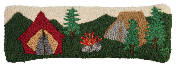 Hooked Wool Pillow - Camping