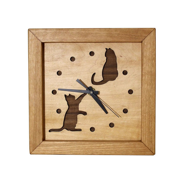 Box Clock - Playing Cats