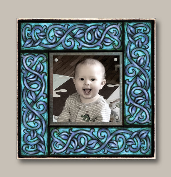 Small Magnetic Picture Frame - Dark Blue Vine