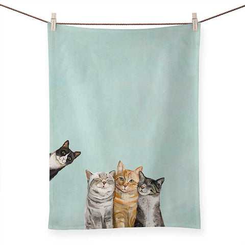Feline Friends Tea Towel