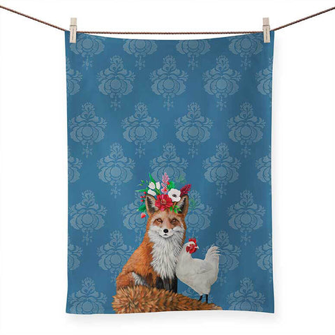 Fox and Rooster Tea Towel