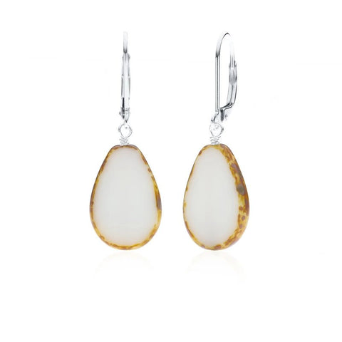 Full Circle Teardrop Earrings - White