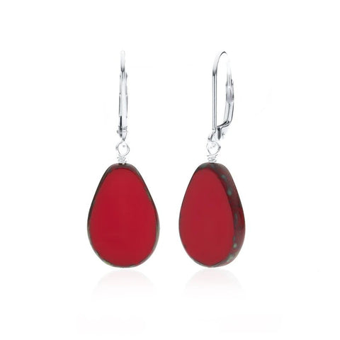 Full Circle Teardrop Earrings - Red