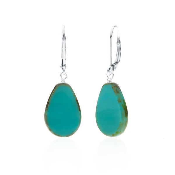 Full Circle Teardrop Earrings - Turquoise