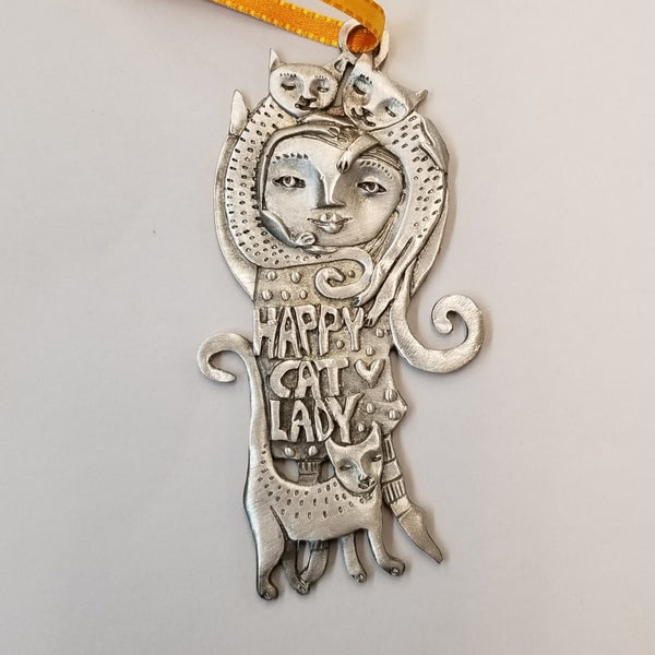 Pewter Ornament - Happy Cat Lady