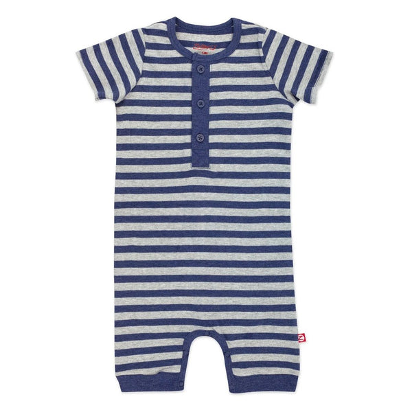 Heather Navy & Gray Stripe Henley Bodysuit