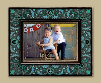 Magnetic Picture Frame - 'Large Vintage Blue Floral'