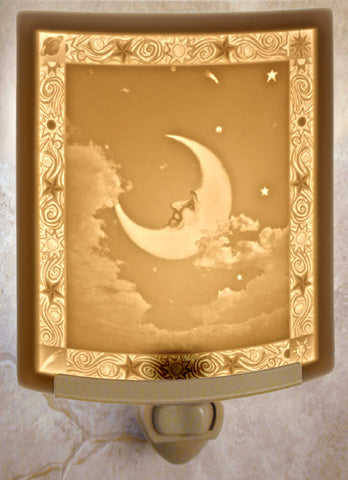 Porcelain Night Light - Man in the Moon