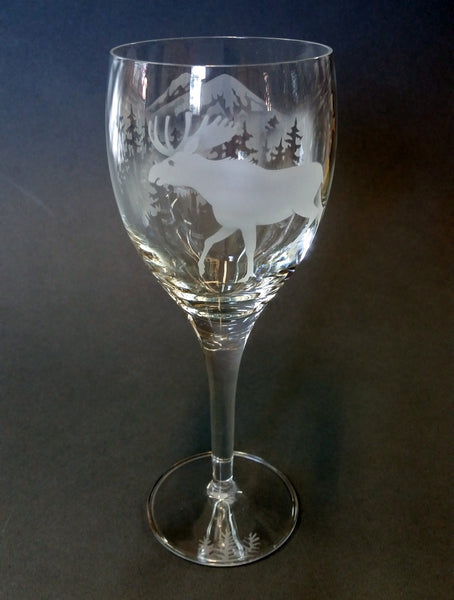 Etched White Wine Glass - Moose