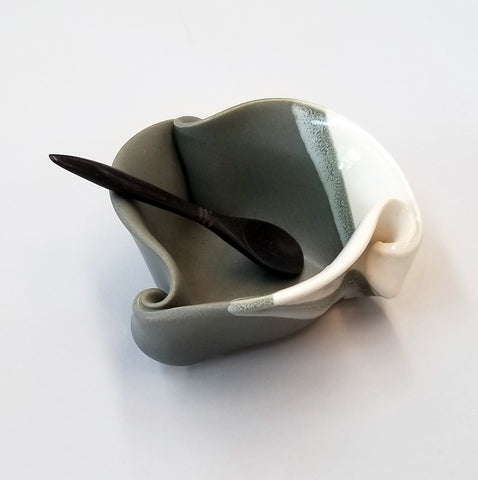Mustard Pot - Gray & White